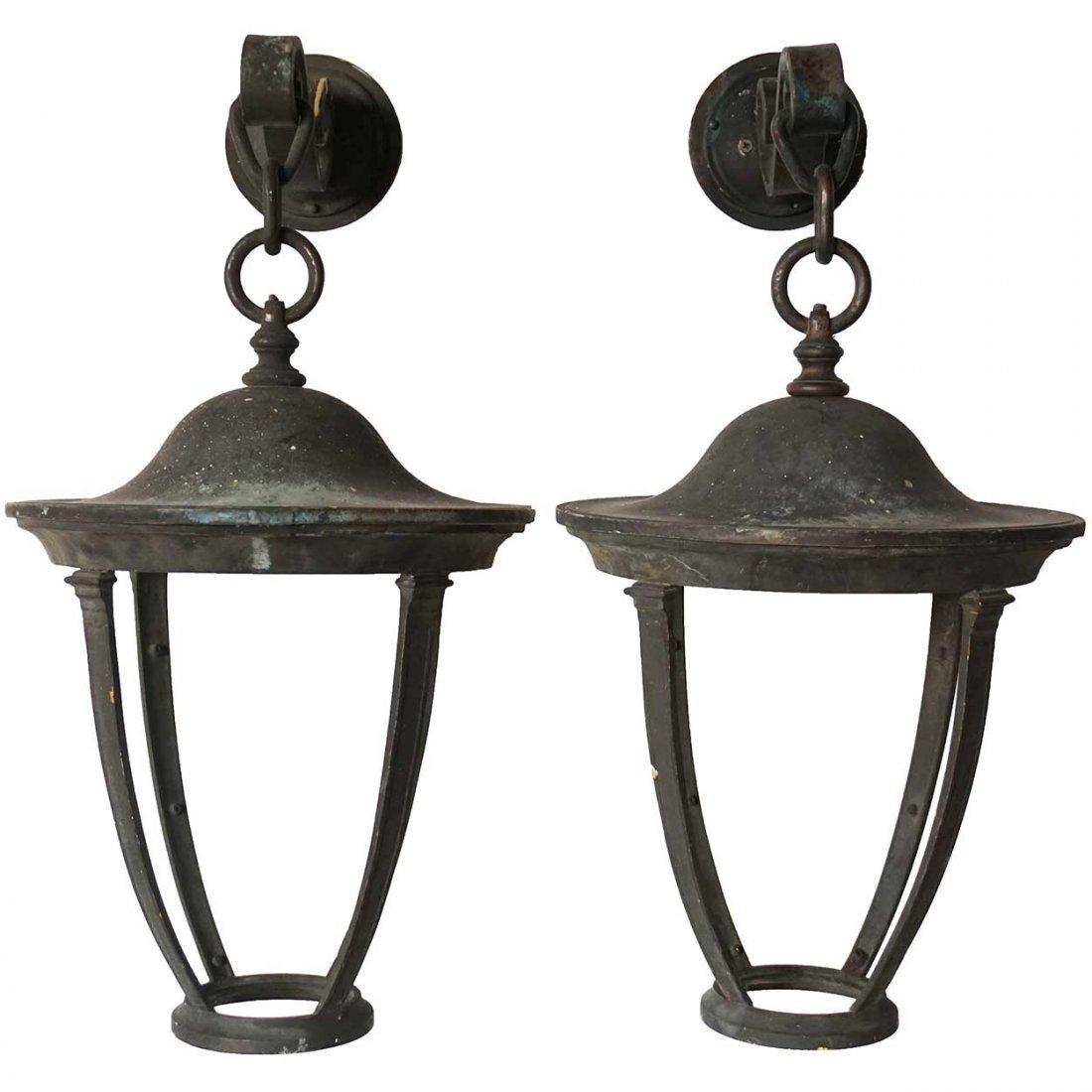 Pair of American Bronze Hanging Wall Bracket One-Light