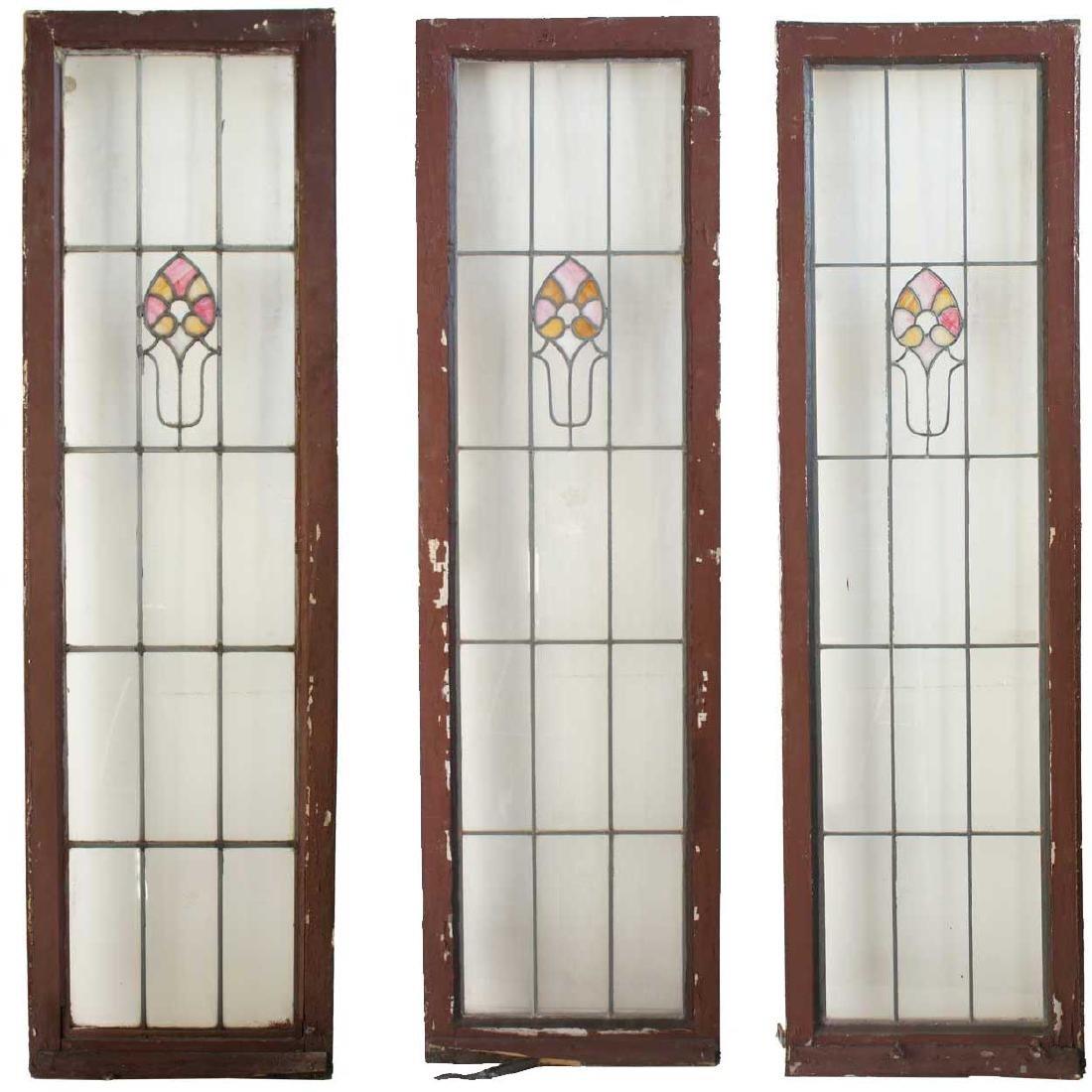 3 American Prairie School Stained Glass Windows