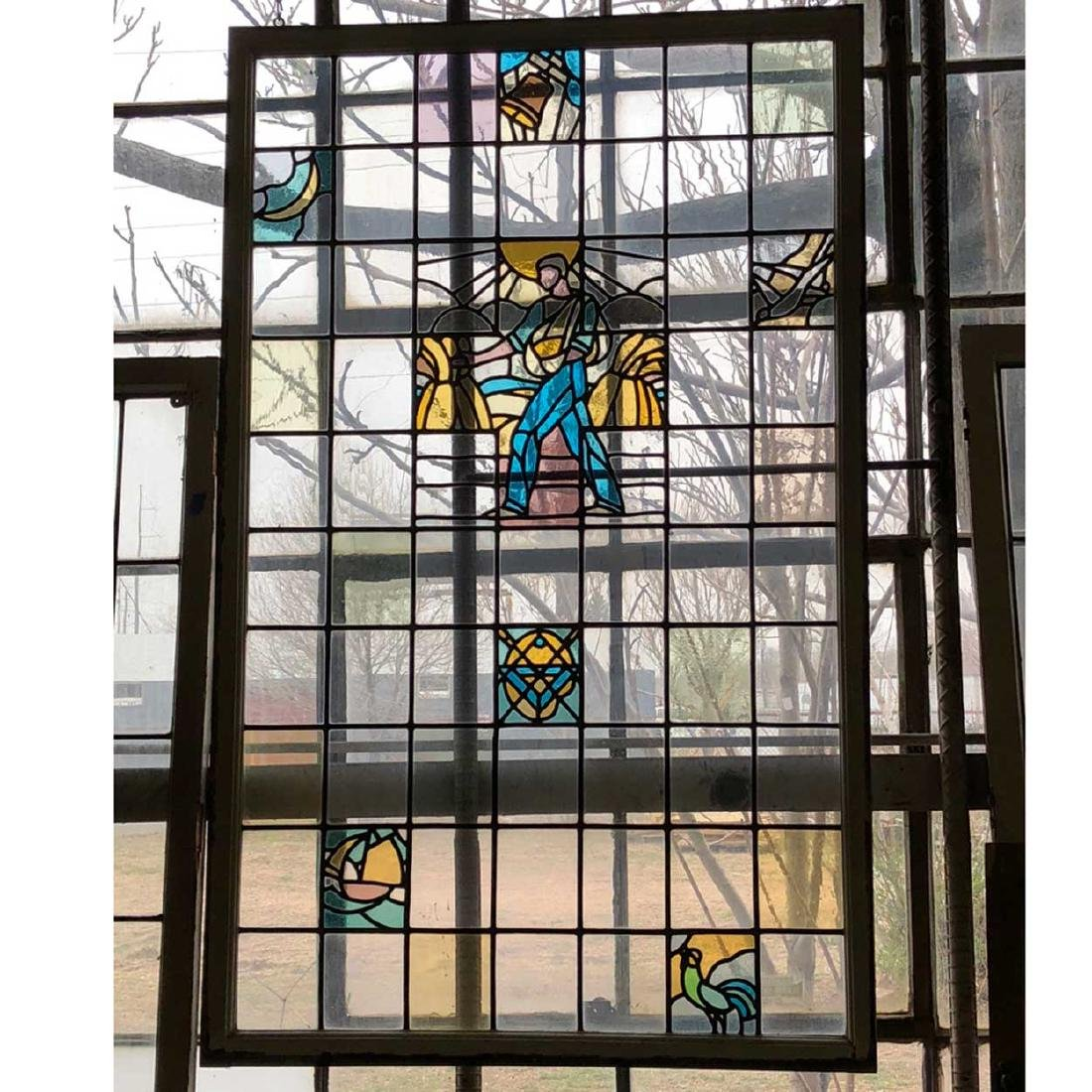 Art Deco Stained and Leaded Glass Window