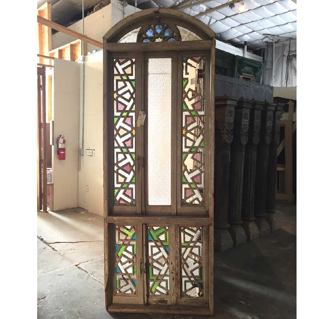 Large Moorish Fretwork Pine Arched Window