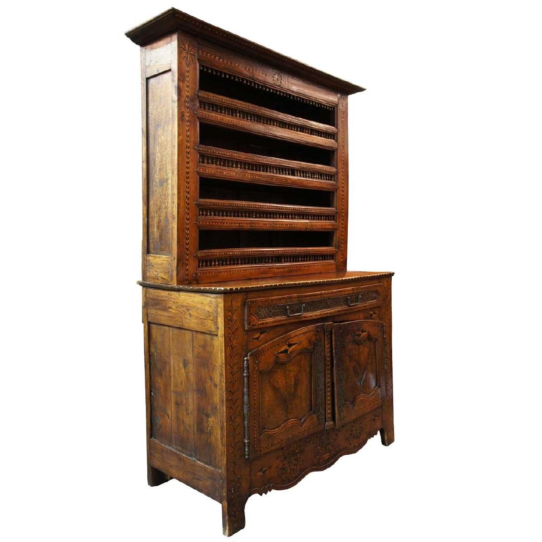 French Provincial Chestnut 2-Part Display Cabinet