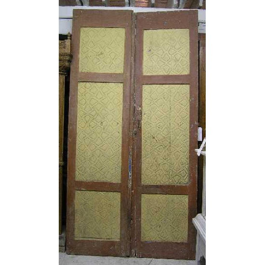 Large Moorish Painted Pine Panel Double Door