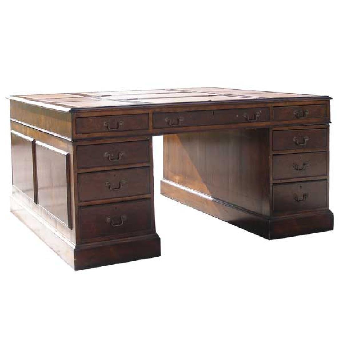 English George III Style Walnut Partners Desk