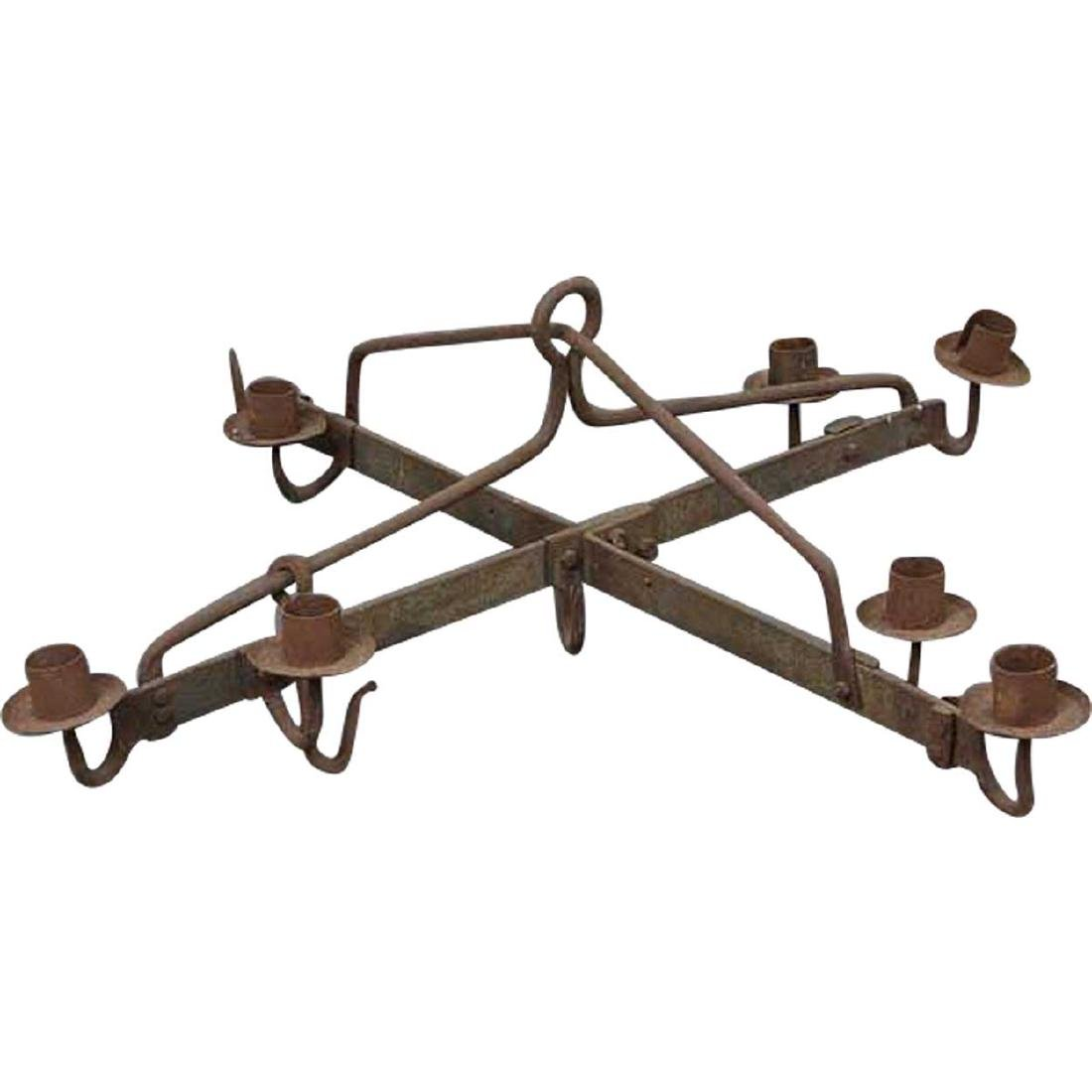 Danish Medieval Style Wrought Iron 7-Light Chandelier