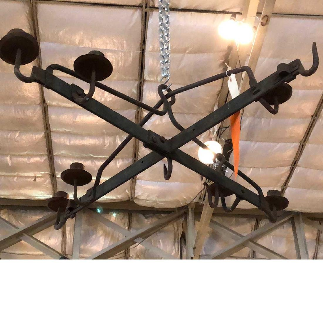 Danish Medieval Style Wrought Iron 7-Light Chandelier - 4
