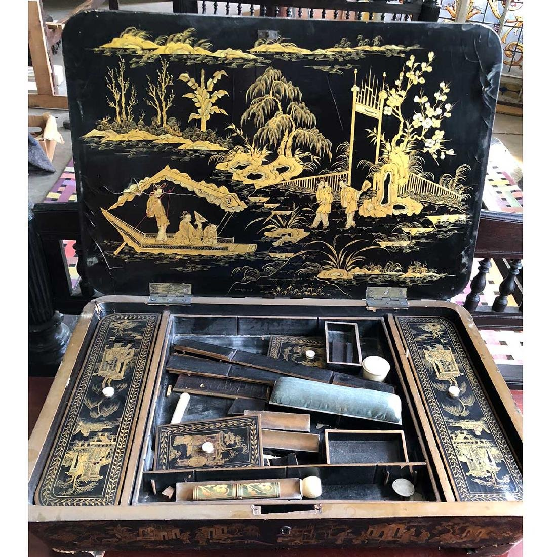 English Chinoiserie Black Lacquered Sewing Box - 2