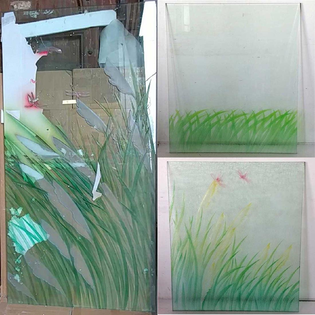 7-Piece Set of Painted Glass Dragonfly Windows