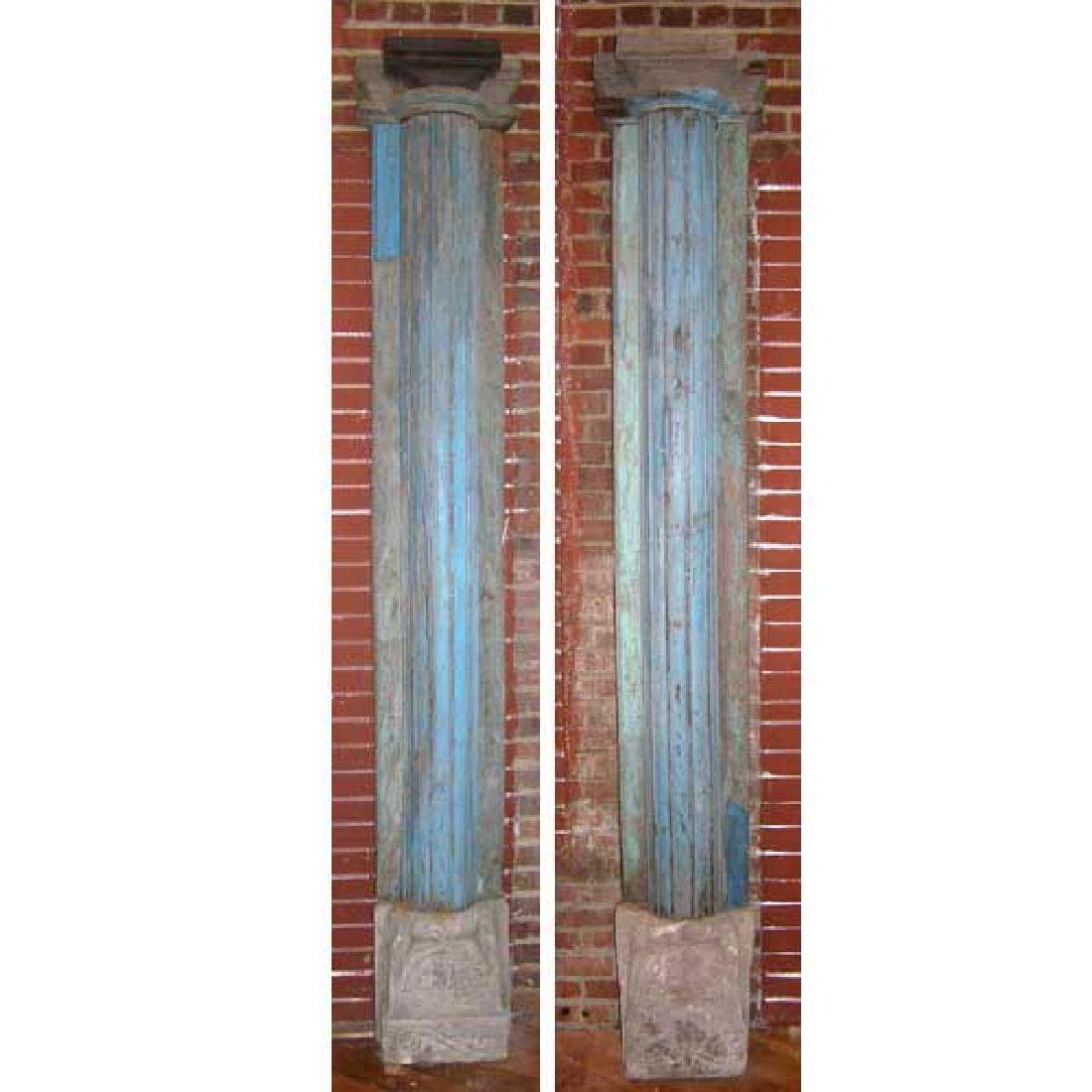 Pair Anglo Indian Blue Painted Base Pilasters