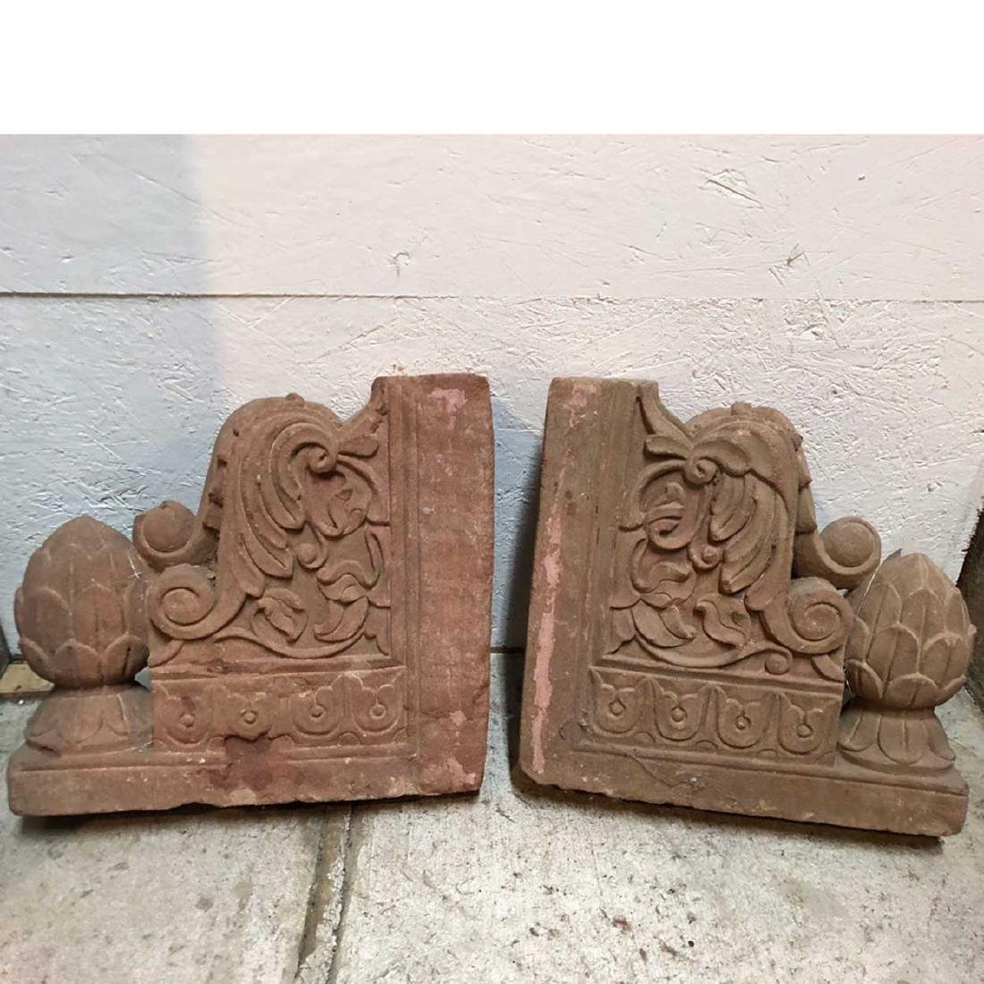 Pair of Indian Sandstone Architectural Brackets