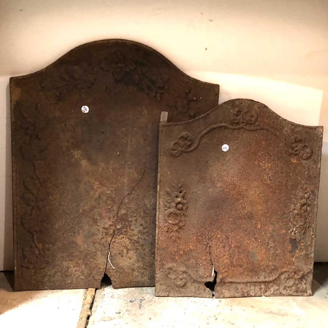 2 French Cast Iron Fireplace Firebacks