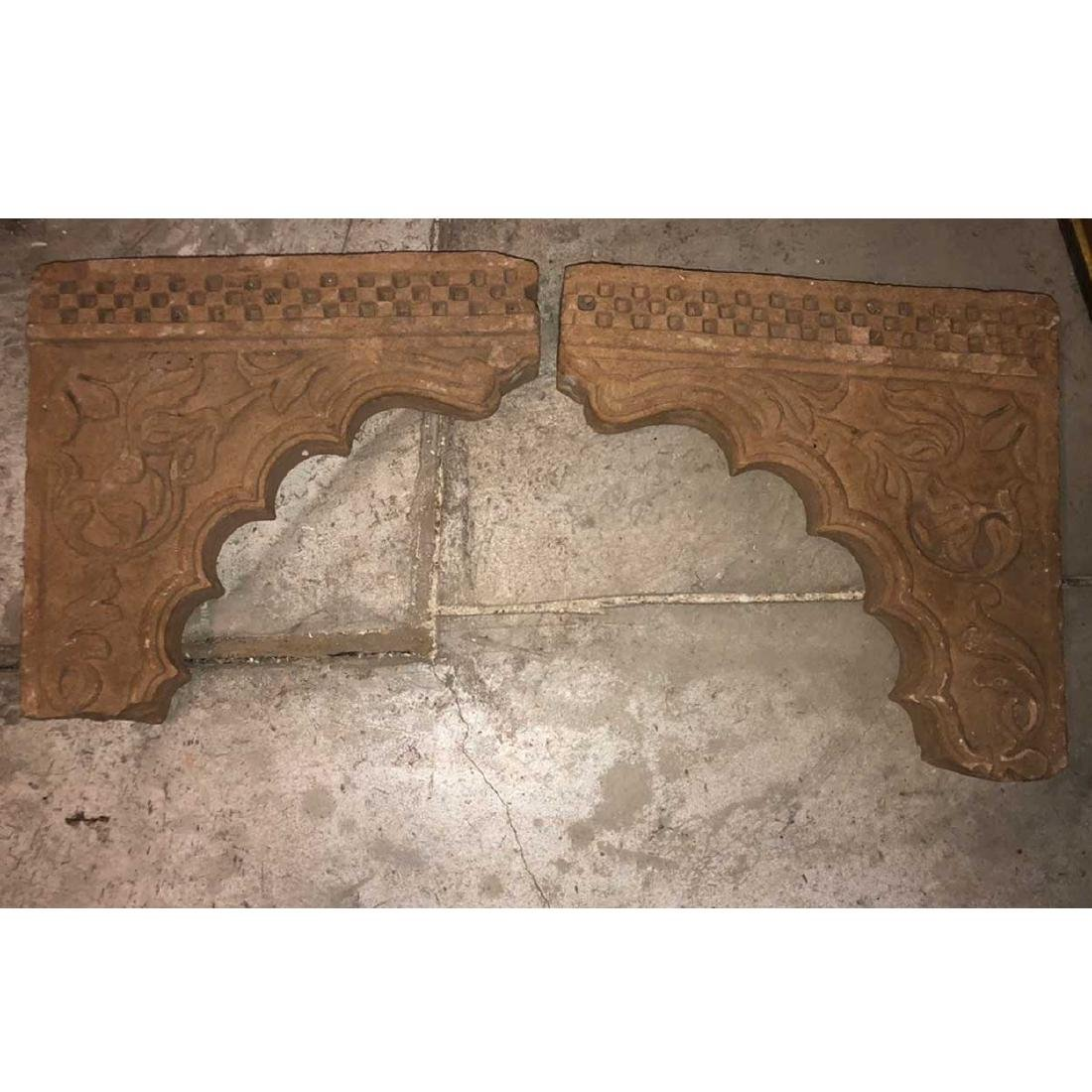 Pair of Indian Tan Sandstone Architectural Brackets