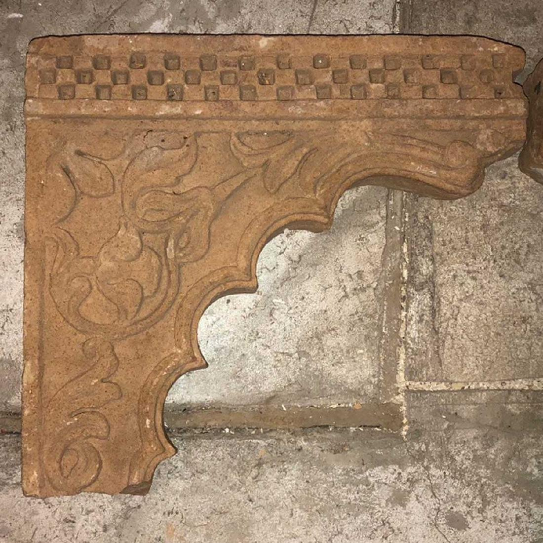 Pair of Indian Tan Sandstone Architectural Brackets - 2