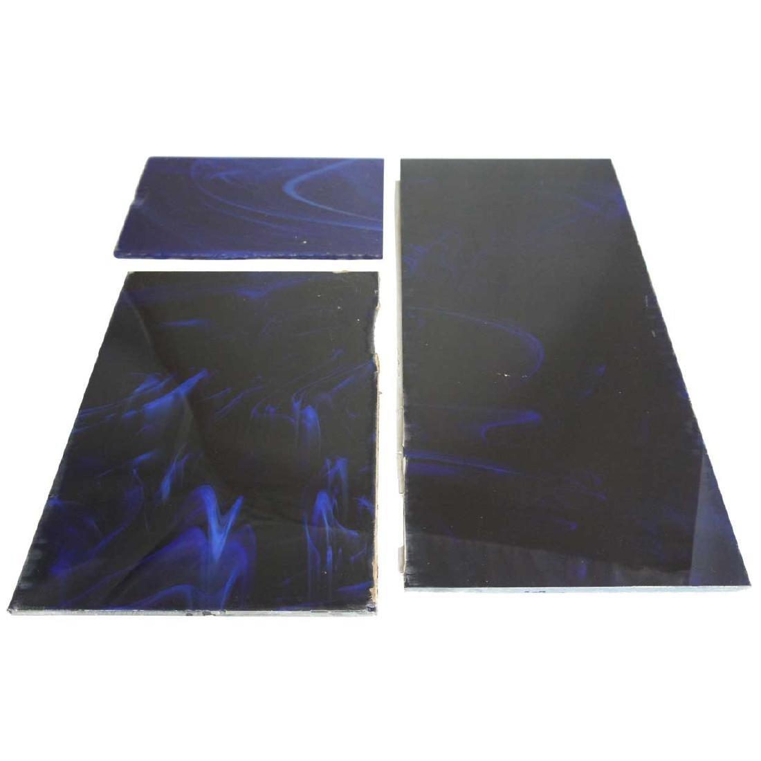 American Art Deco Cobalt Opalescent Glass Tiles