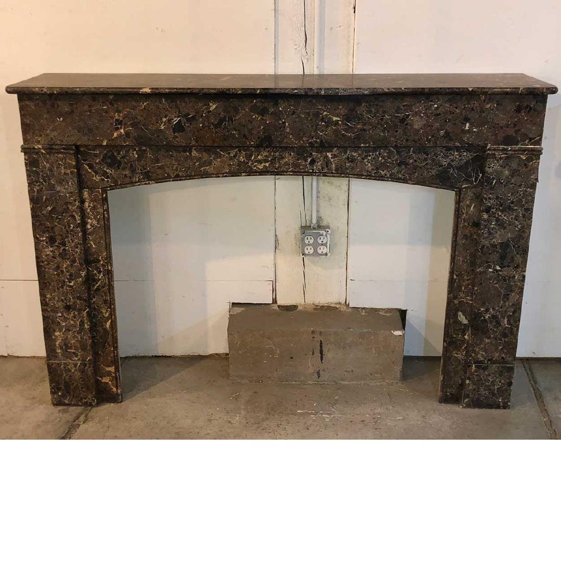 French Empire Variegated Marble Fireplace Surround