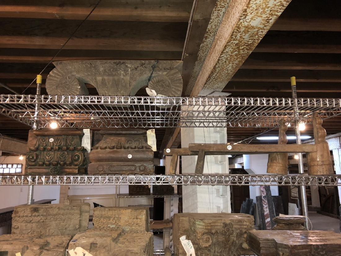 4 Teak Architectural Pilaster Capitals