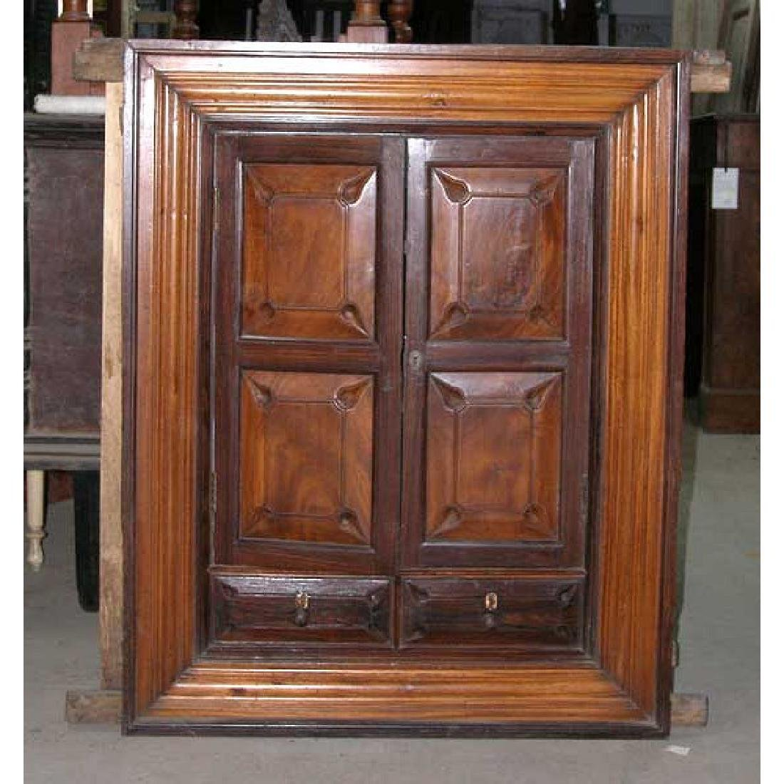 Indian Goan Rosewood & Satinwood Wall Cabinet