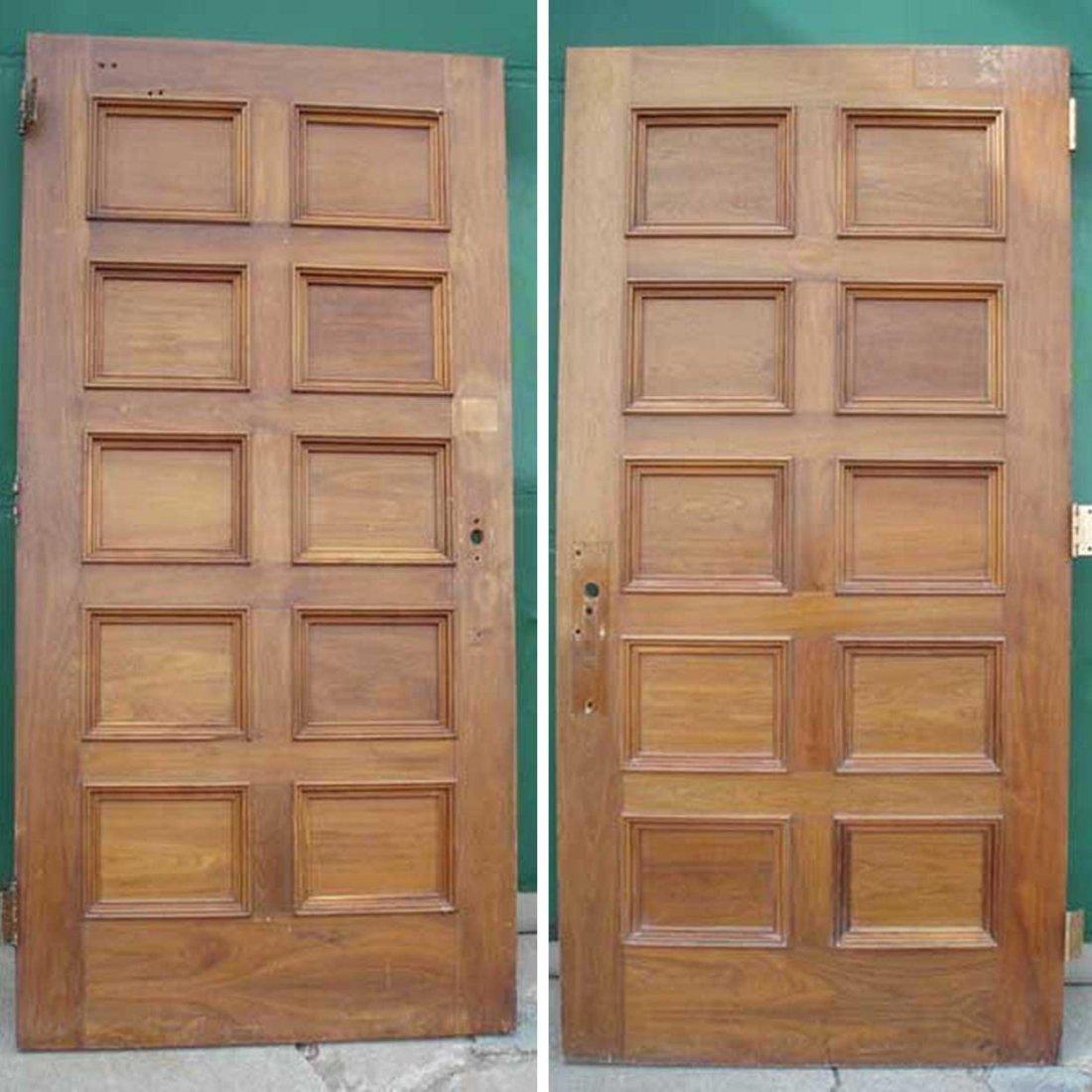 2 American Walnut Paneled Single Doors