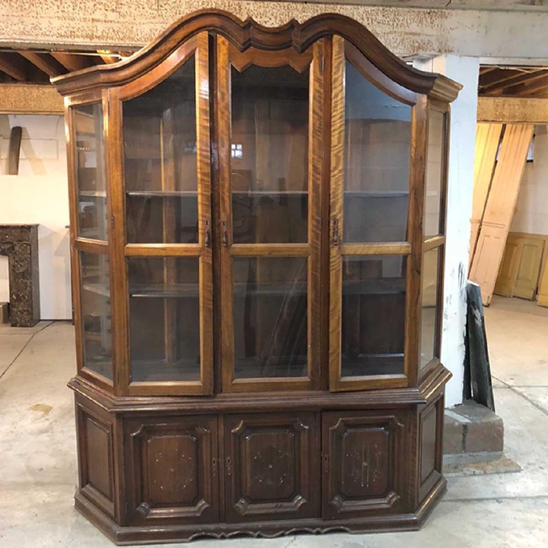 Vintage Two-Part Walnut Display Cabinet
