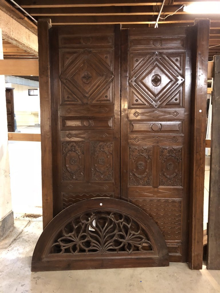 Indo-Portuguese Teak Double Door & Arched Transom