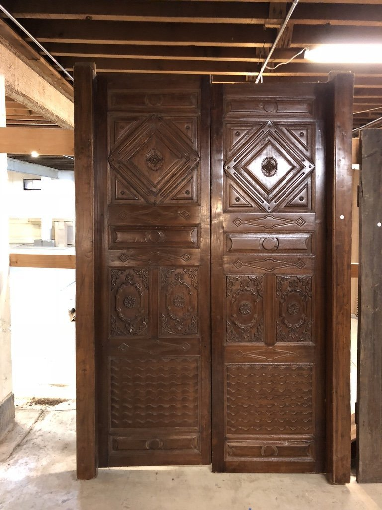 Indo-Portuguese Teak Double Door & Arched Transom - 2