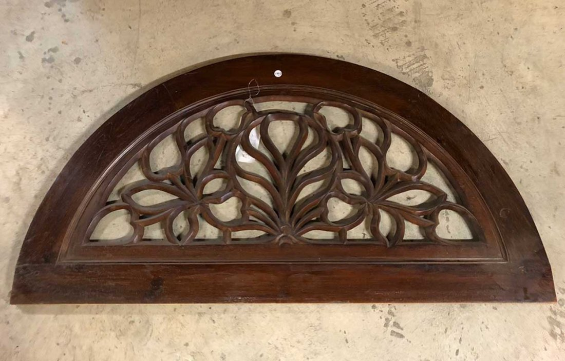 Indo-Portuguese Teak Double Door & Arched Transom - 3