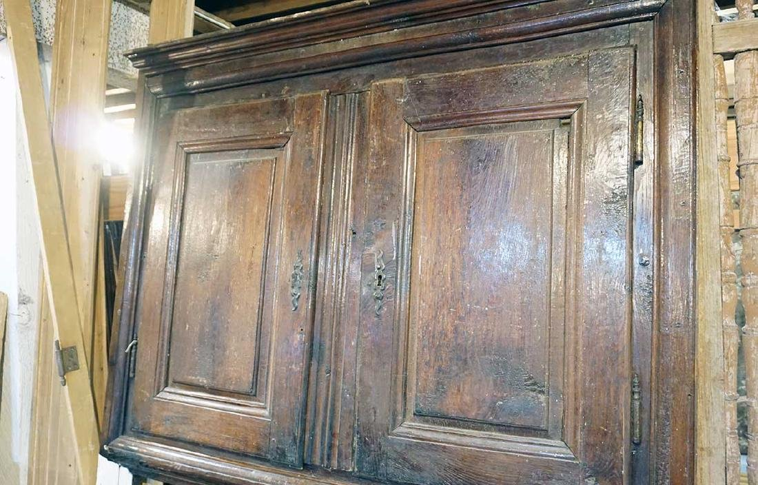 French Provincial Solid Oak Cabinet Fireplace Trumeau - 2