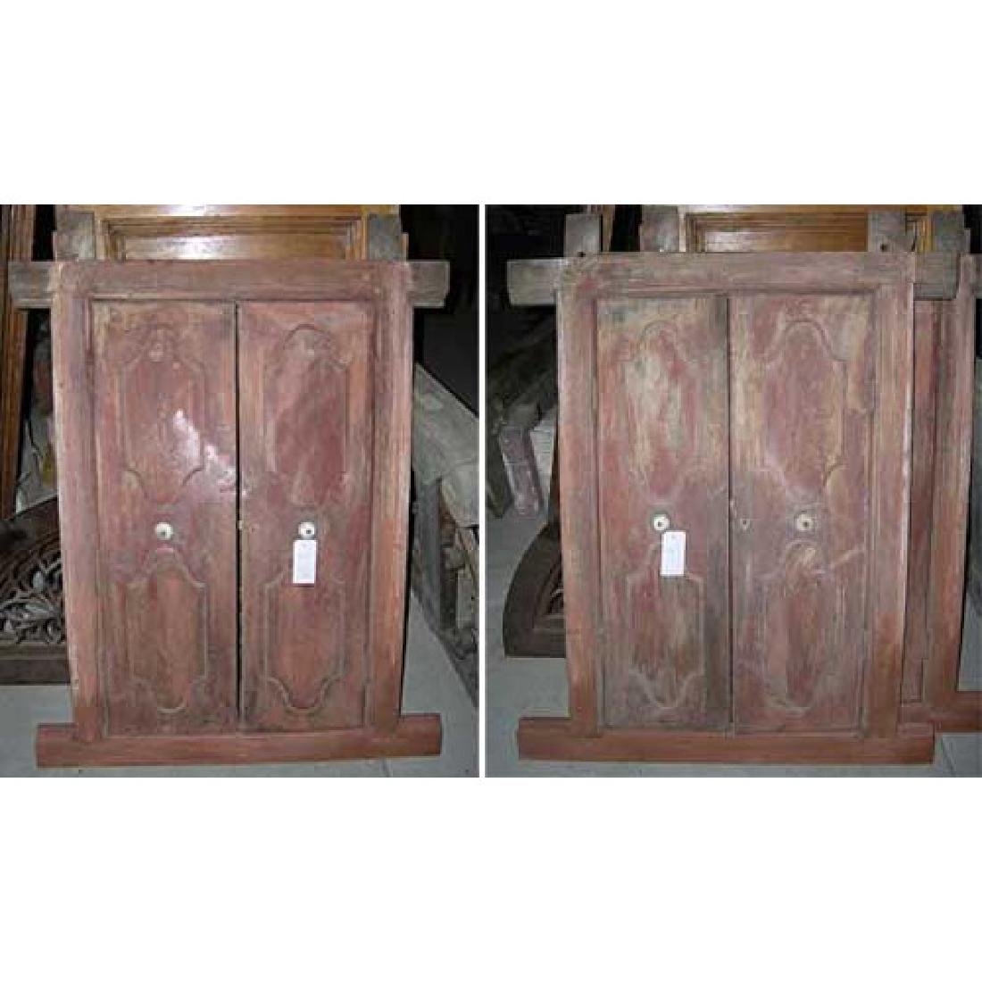 Pair Indo-Portuguese Painted Double Shutter Windows