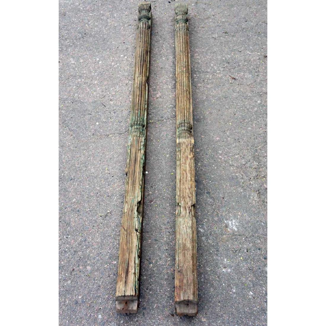 Pair Indian Green Painted Teak Column Pilasters