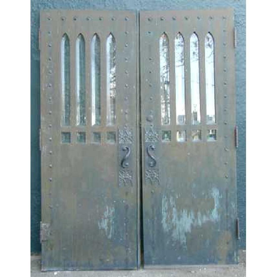 American Gothic Revival Bronze Clad Oak Double Door