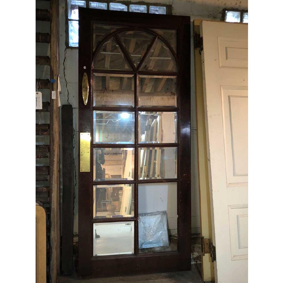 Mahogany Double Sided Beveled Mirrored Single Door