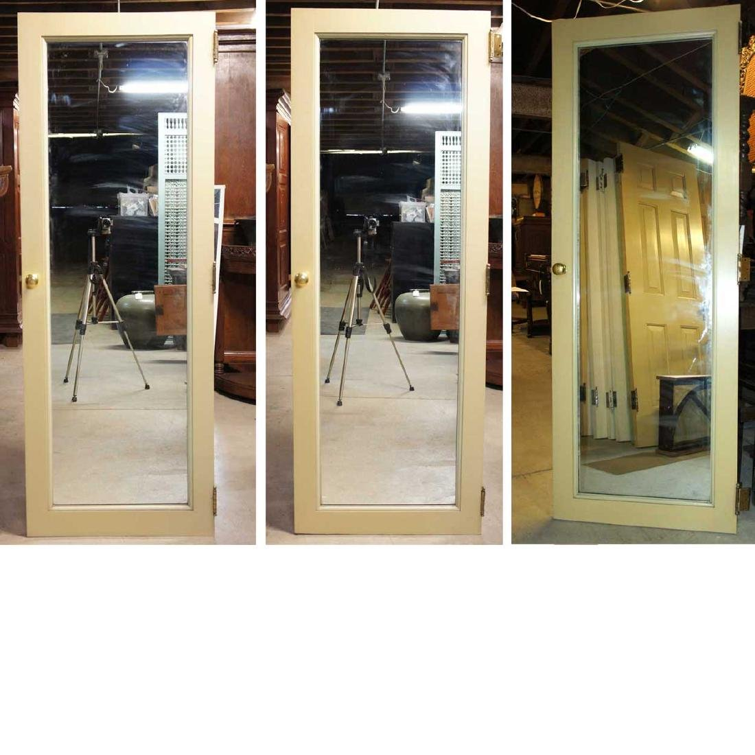3 American Painted, Paneled & Mirrored Single Doors