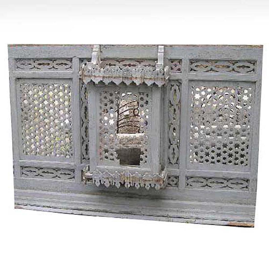 Moorish Painted Pine Fretwork Screen and Window