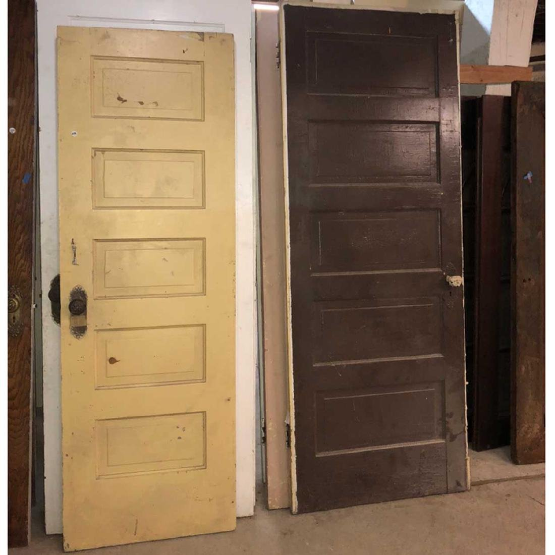 Nine American Victorian Painted Panel Single Doors