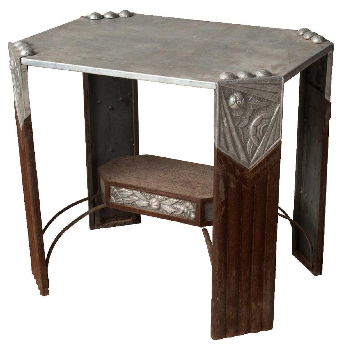 French or Belgian Art Deco Aluminum & Metal Side Table