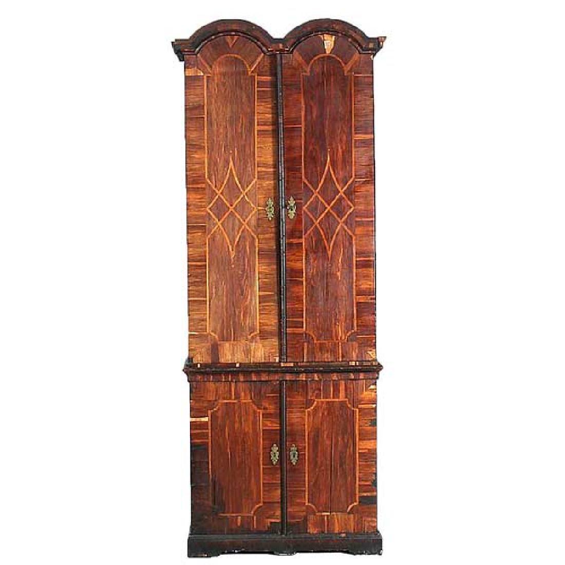 German Baroque Parquetry Palisander Secretaire Cabinet