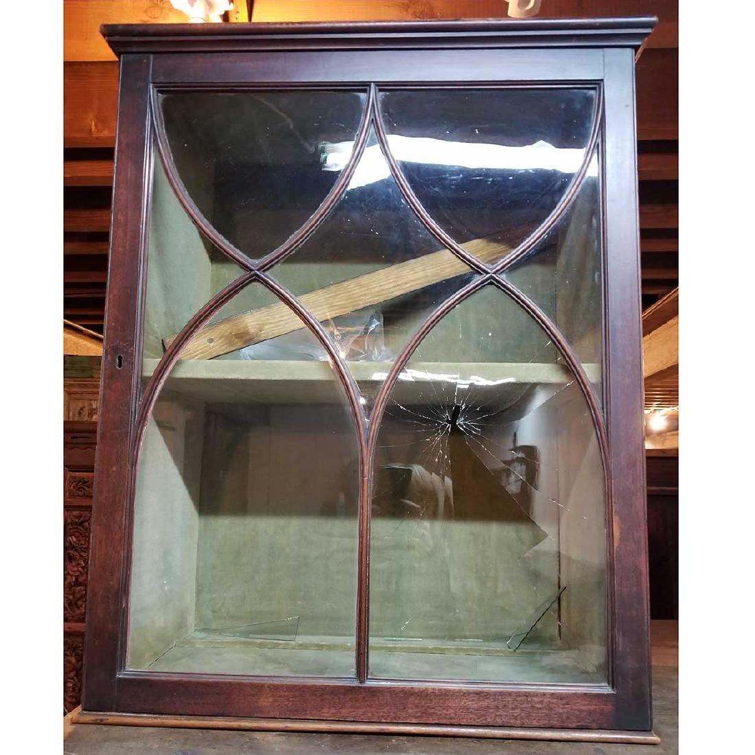 English Mahogany Glazed Door Hanging Vitrine Cabinet