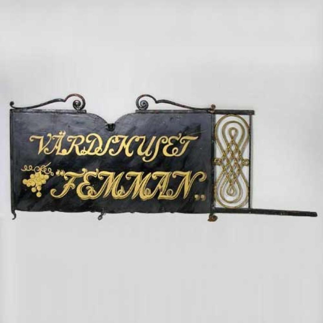Swedish Painted Iron Bracket Hotel Building Trade Sign