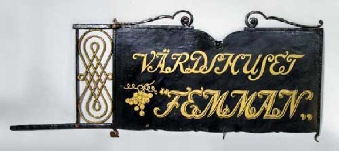 Swedish Painted Iron Bracket Hotel Building Trade Sign - 2