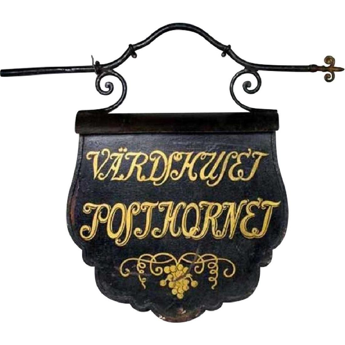 Swedish Painted Iron Hotel Trade Bracket Sign