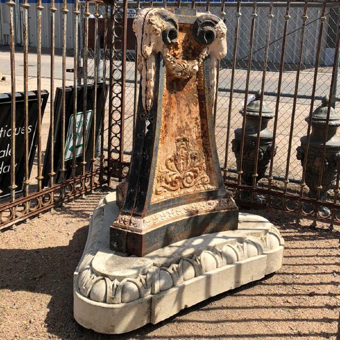 Neoclassical Painted Cast Iron Fountain Base