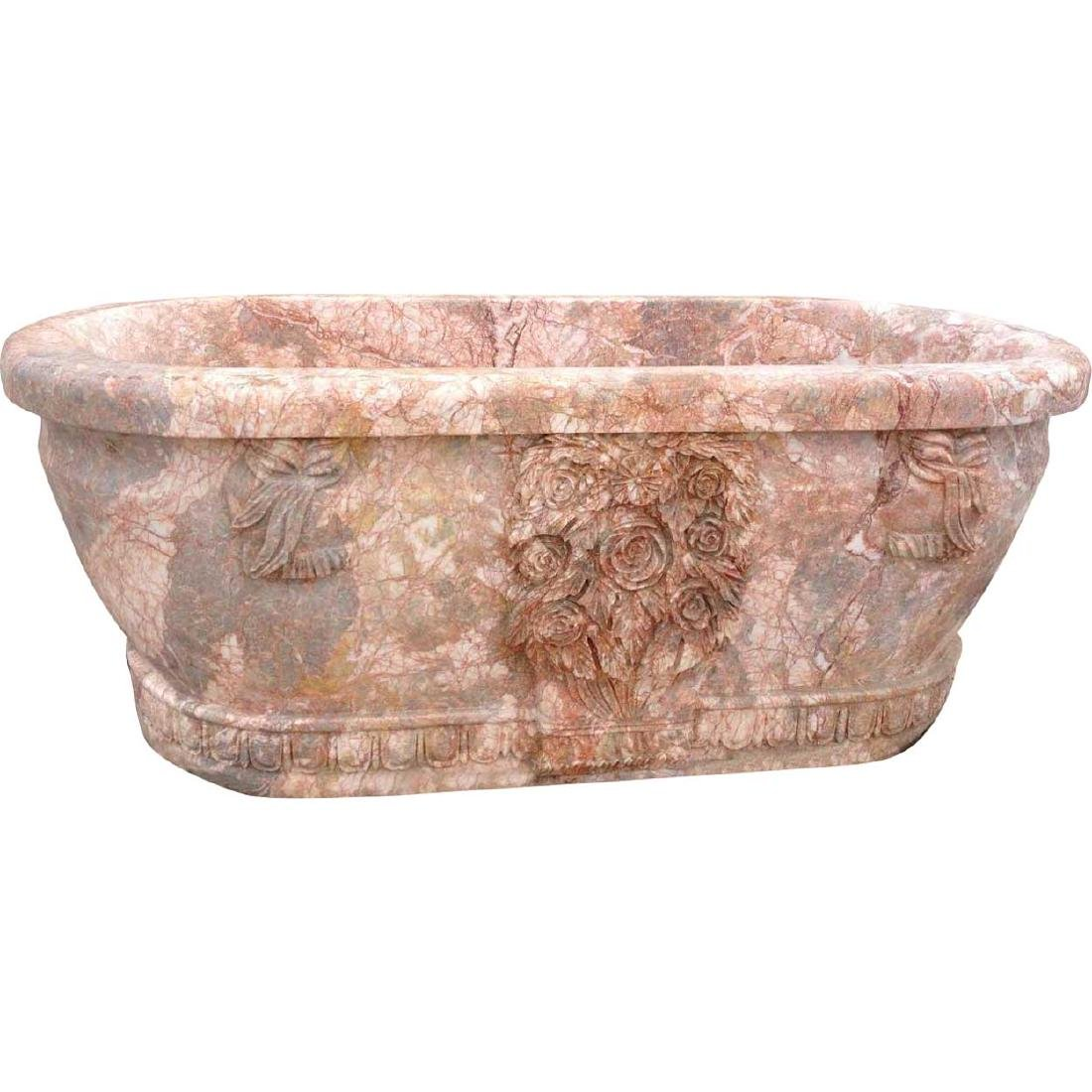 Italian Style Neoclassical Pink Marble Bathtub