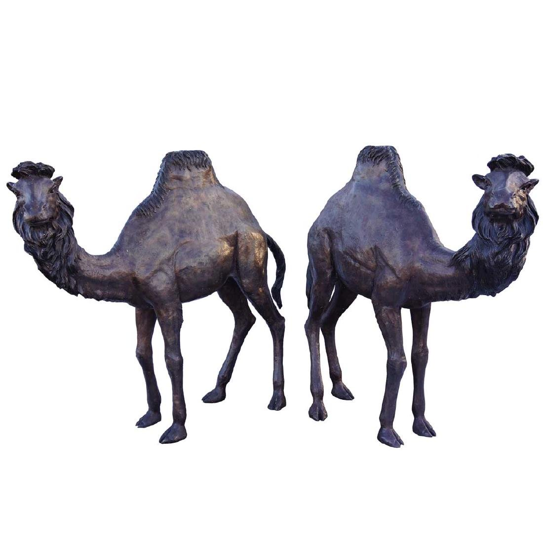 Pair of Large Opposing Bronze Camels Garden Statues