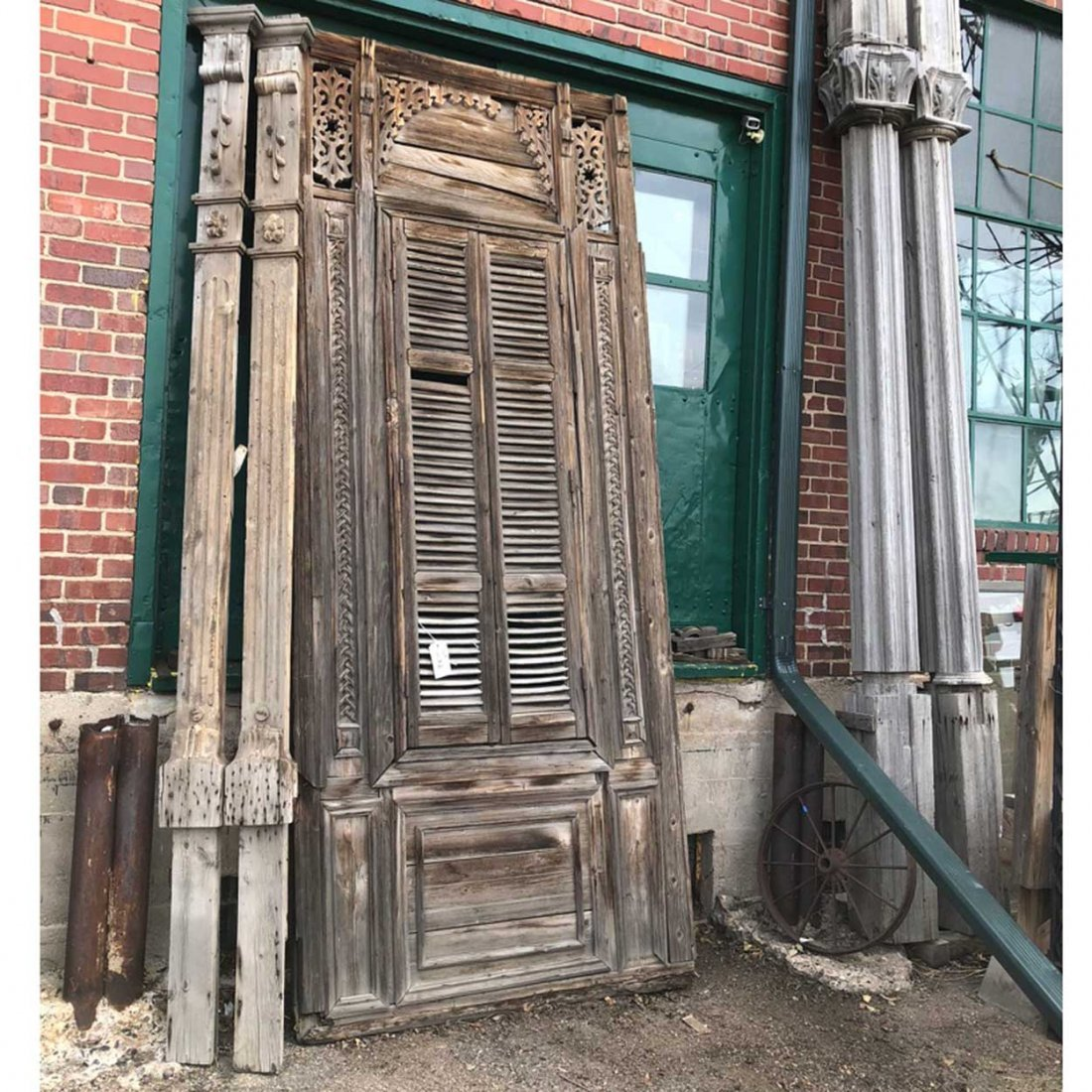 2 French Colonial Pine Columns & Window
