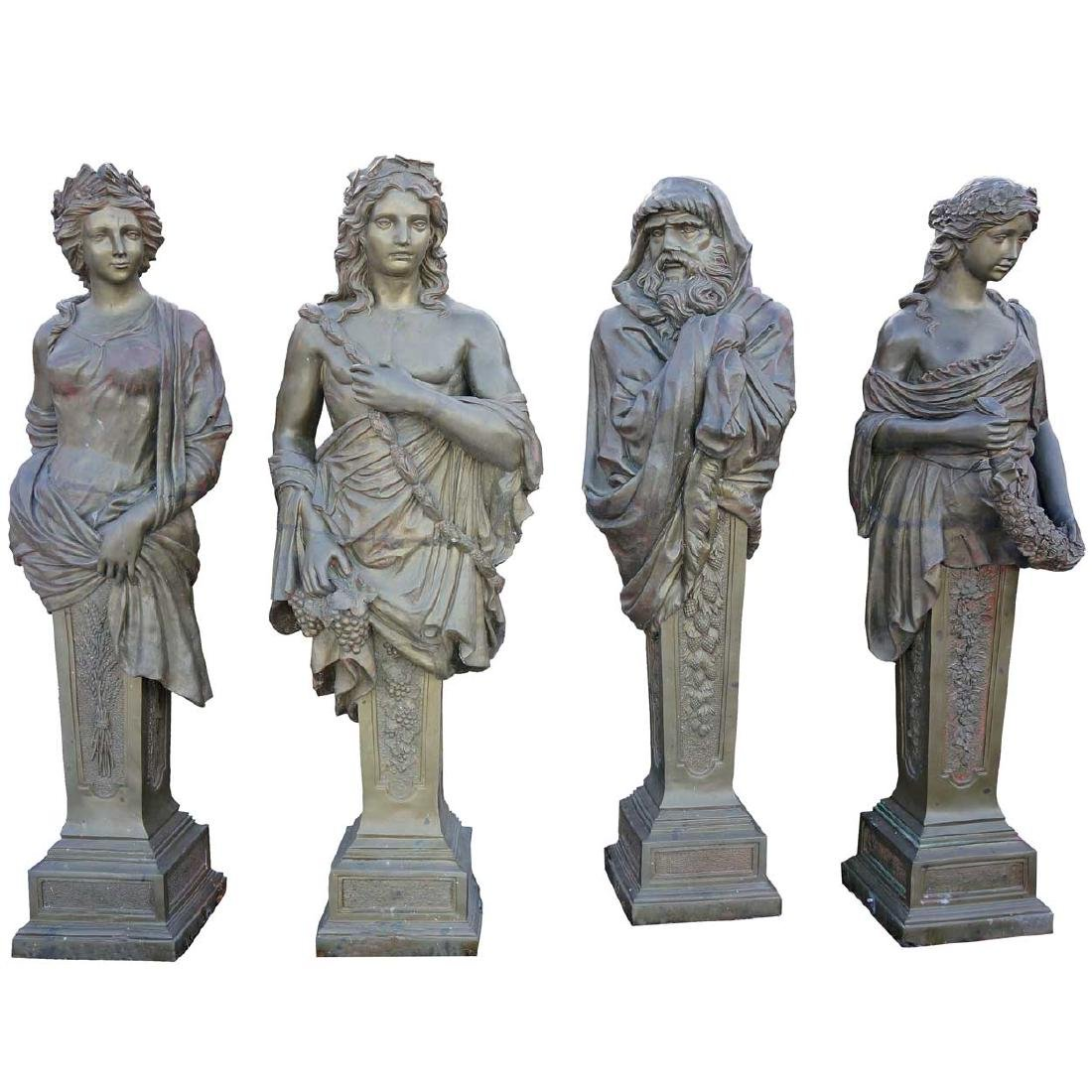 Set 4 Bronze Four Seasons Figural Garden Statues