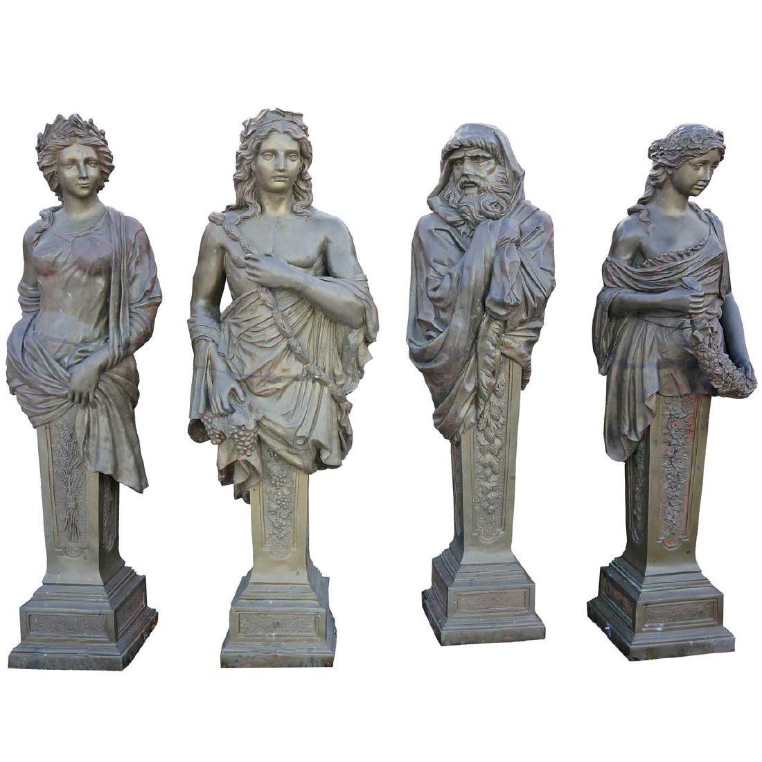Set 4 Bronze Four Seasons Figural Garden Statues