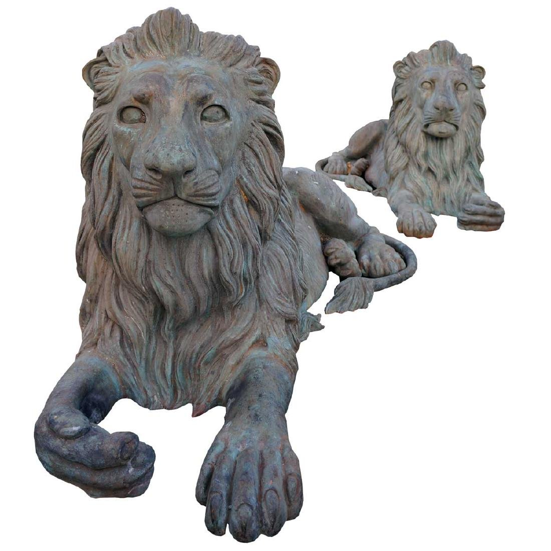 Pair Large Bronze Recumbent Lions Garden Statues
