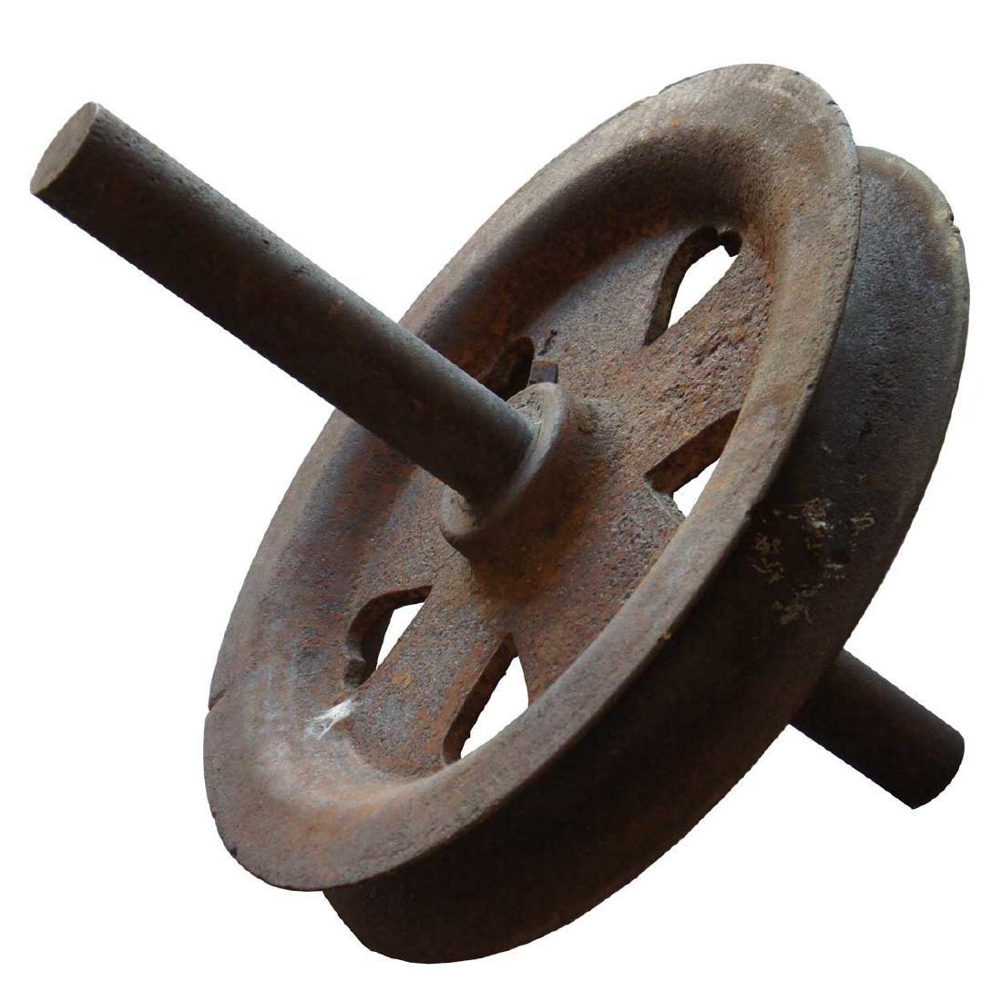 American Industrial Cast Iron Heart Spoke Pulley Wheel