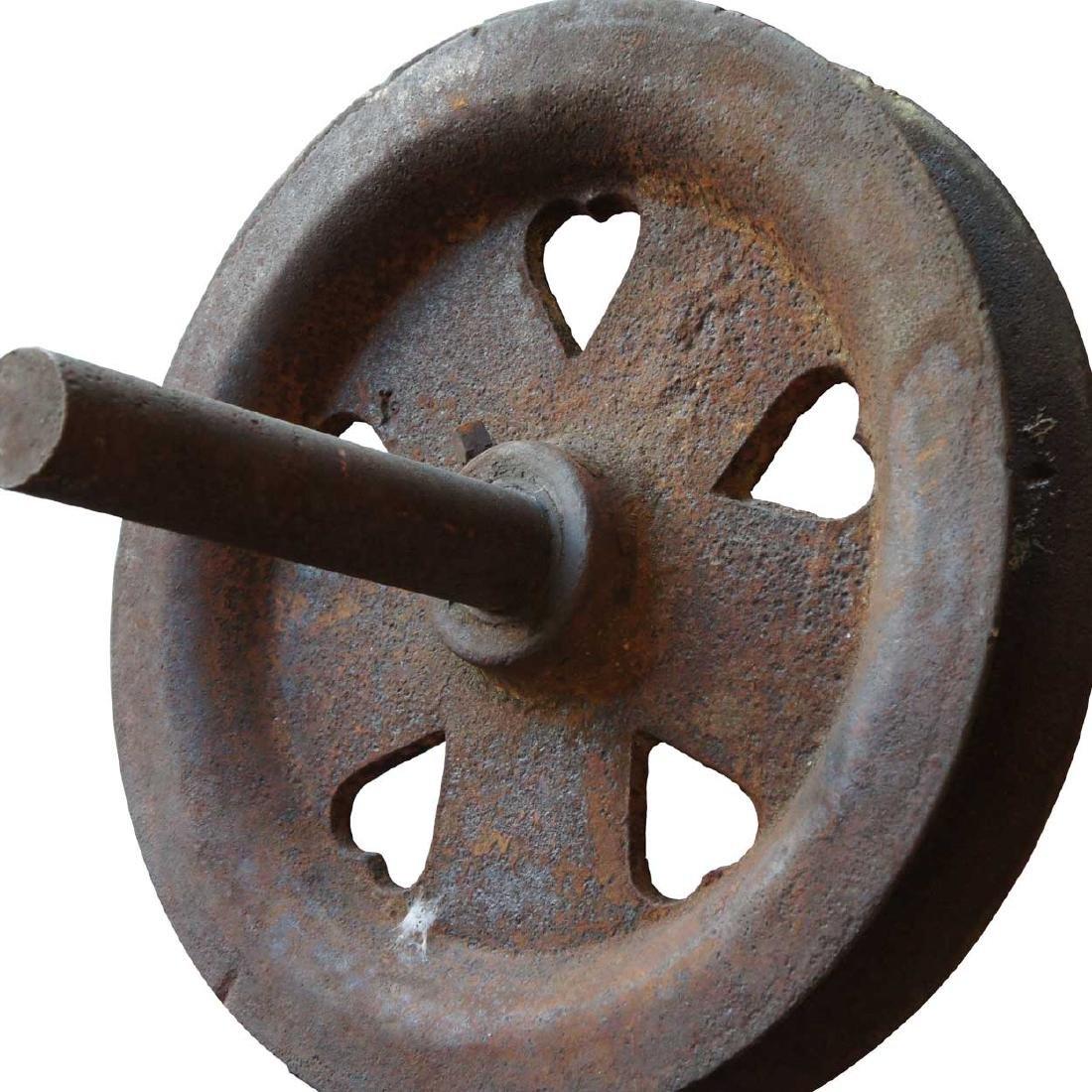 American Industrial Cast Iron Heart Spoke Pulley Wheel - 2