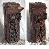 2 American Victorian Terracotta Brownstone Corbels