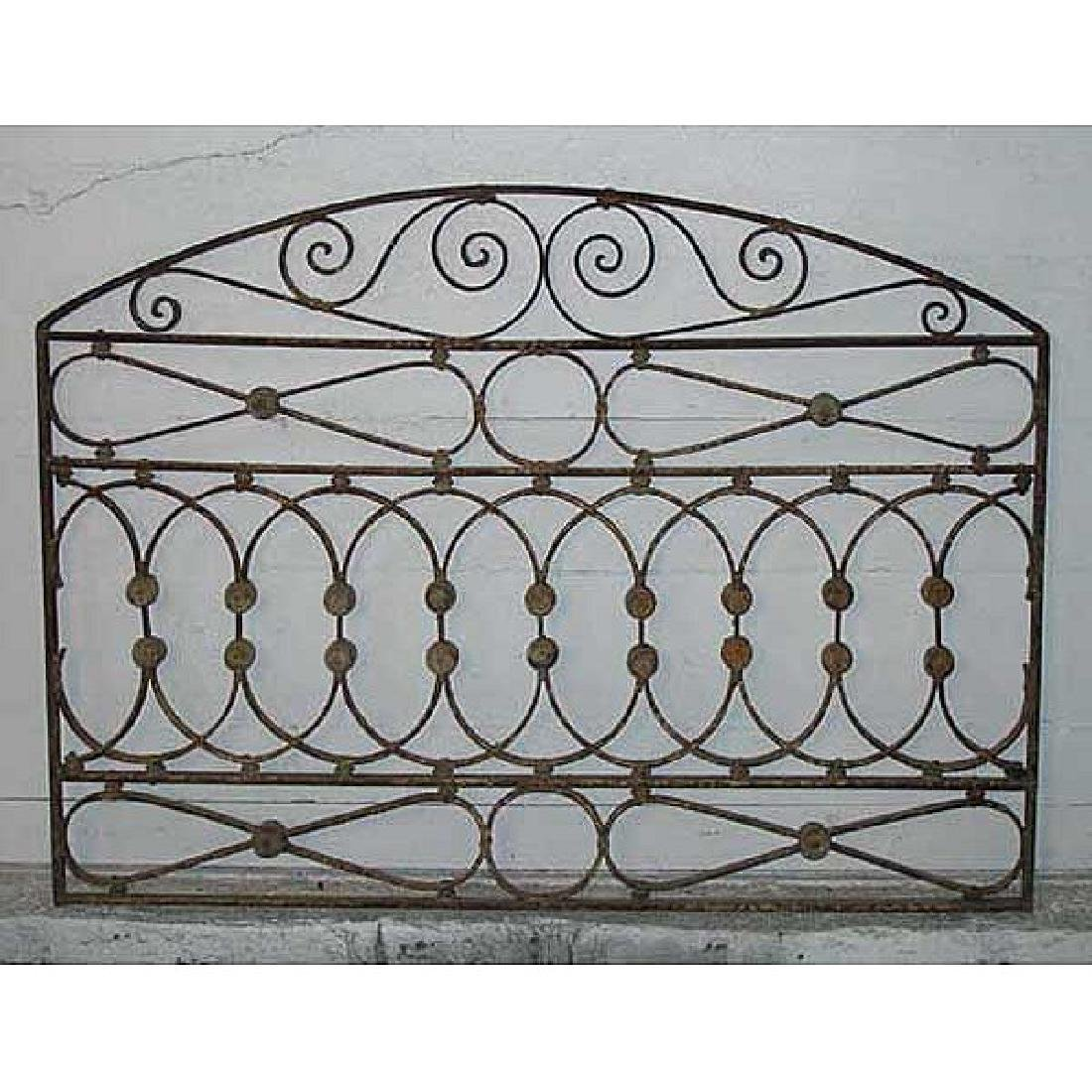 French Wrought Iron & Zinc Arched Transom Grille